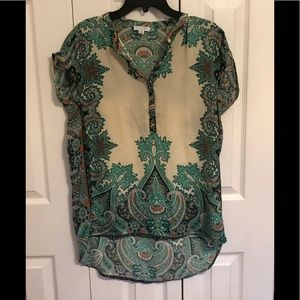 Silk short sleeve tunic like top